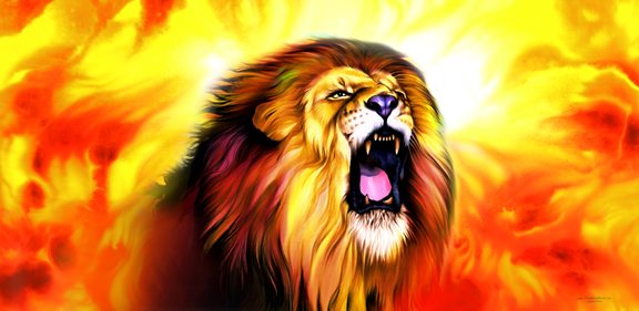 Roaring Lion Fire Flag - Decorative Flag, praise banner, worship dance