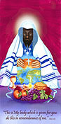 seder silk flag, jesus breaking bread flag