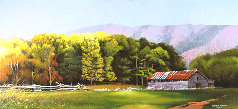Landscape Paintings,landscape paintings of cades cove & smoky  mountains,Spencer Williams - Landscape Paintings,landscape Paintings Of Cades Cove & Smoky
