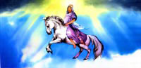christ returning, white horse, jesus returning on white horse, jesus coming from the clouds, christ returning